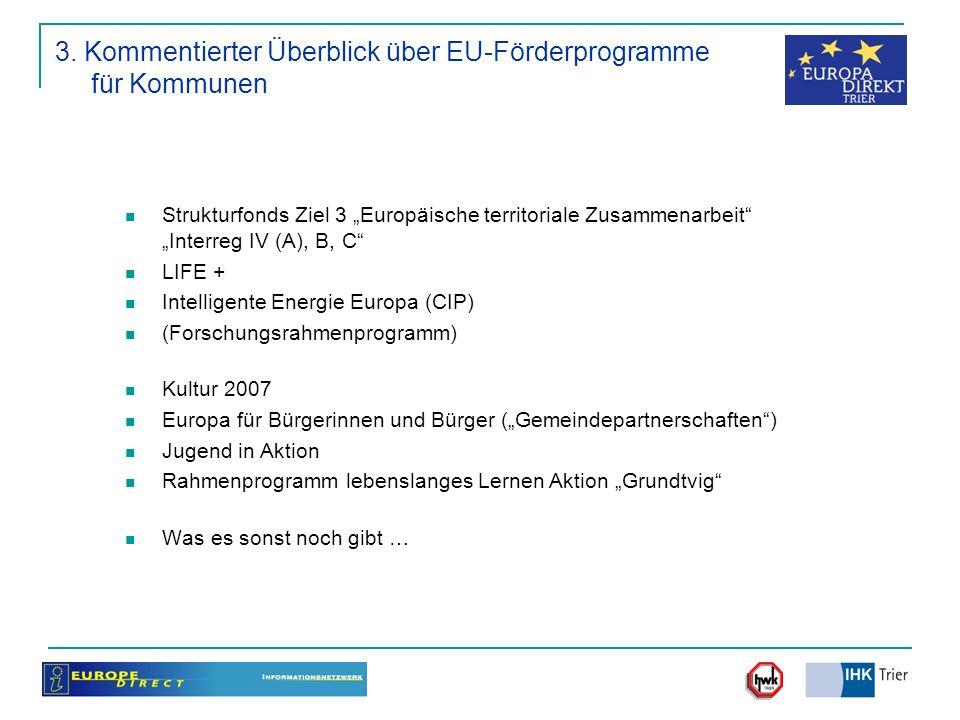 Strukturfonds Ziel 3 Europäische territoriale Zusammenarbeit Interreg IV (A), B, C LIFE + Intelligente Energie Europa (CIP) (Forschungsrahmenprogramm)