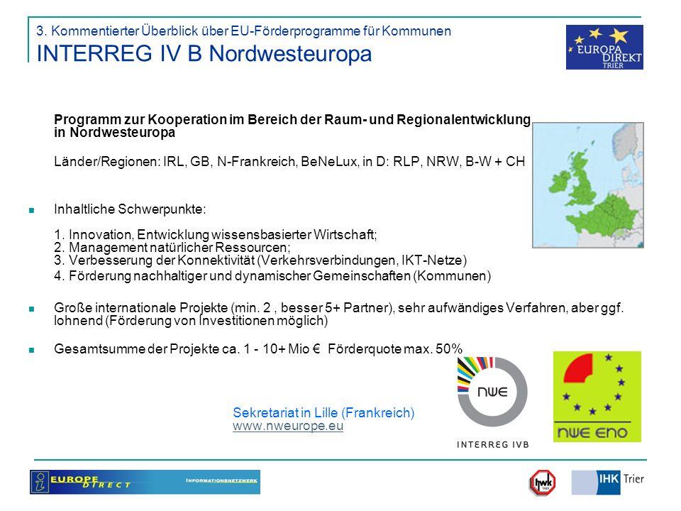 3. Kommentierter Überblick über EU-Förderprogramme für Kommunen INTERREG IV B Nordwesteuropa Programm zur Kooperation im Bereich der Raum- und Regiona