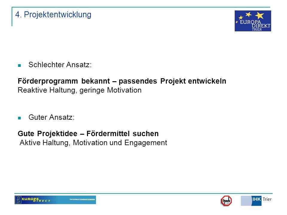 4. Projektentwicklung Schlechter Ansatz: Förderprogramm bekannt – passendes Projekt entwickeln Reaktive Haltung, geringe Motivation Guter Ansatz: Gute