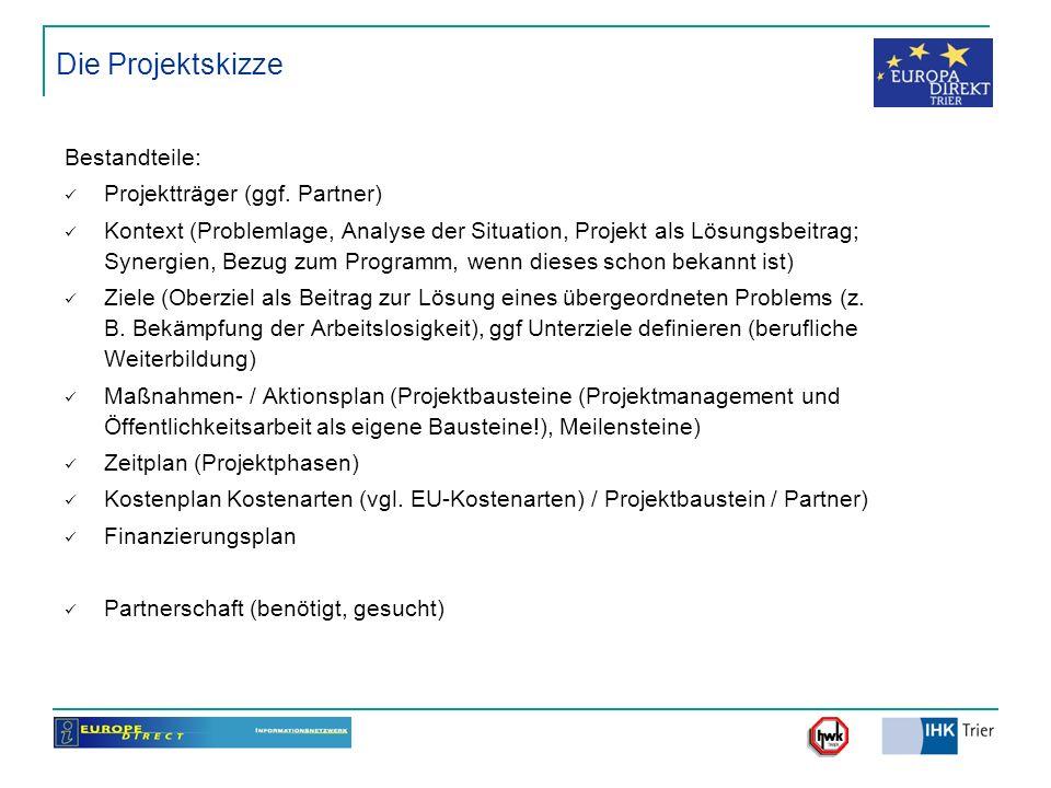 Die Projektskizze Bestandteile: Projektträger (ggf. Partner) Kontext (Problemlage, Analyse der Situation, Projekt als Lösungsbeitrag; Synergien, Bezug