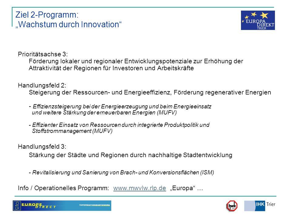 Ziel 2-Programm: Wachstum durch Innovation Prioritätsachse 3: Förderung lokaler und regionaler Entwicklungspotenziale zur Erhöhung der Attraktivität d