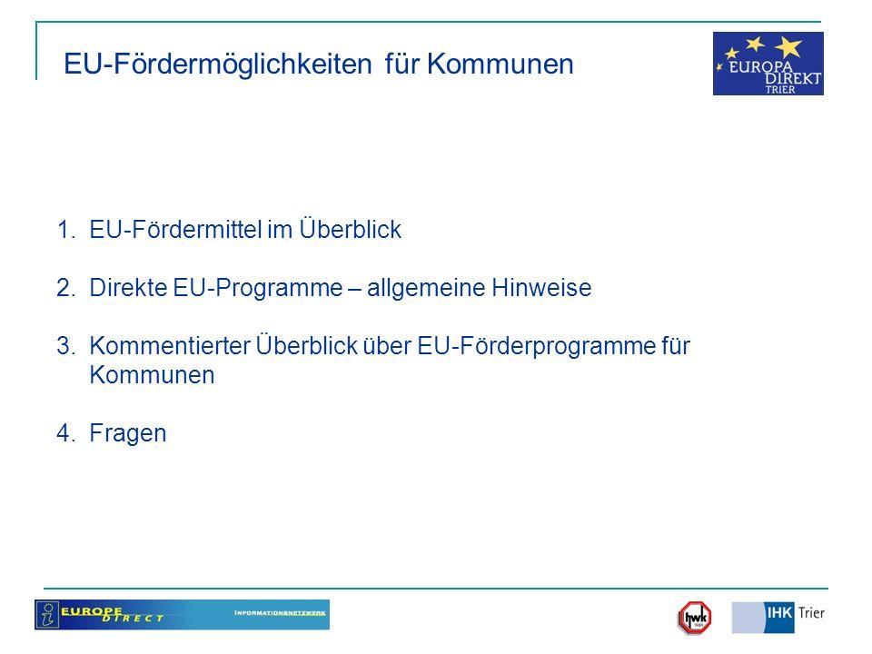 1.EU-Fördermittel im Überblick 2.Direkte EU-Programme – allgemeine Hinweise 3.Kommentierter Überblick über EU-Förderprogramme für Kommunen 4.Fragen EU