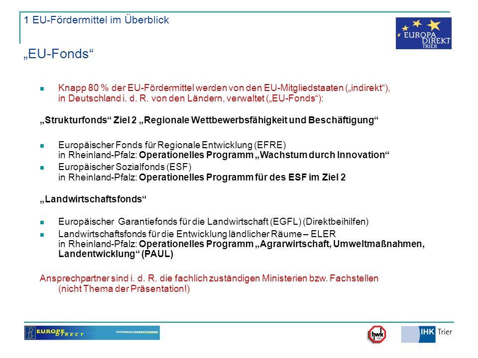 1 EU-Fördermittel im Überblick EU-Fonds Knapp 80 % der EU-Fördermittel werden von den EU-Mitgliedstaaten (indirekt), in Deutschland i. d. R. von den L