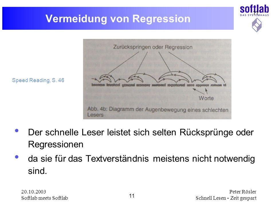 20.10.2003 Softlab meets Softlab 11 Peter Rösler Schnell Lesen - Zeit gespart 11 Vermeidung von Regression Der schnelle Leser leistet sich selten Rück