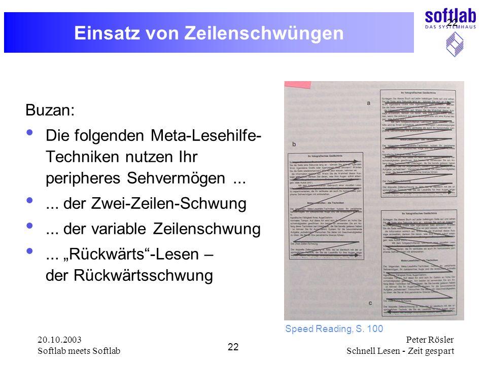 20.10.2003 Softlab meets Softlab 22 Peter Rösler Schnell Lesen - Zeit gespart 22 Einsatz von Zeilenschwüngen Buzan: Die folgenden Meta-Lesehilfe- Tech