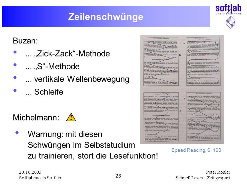 20.10.2003 Softlab meets Softlab 23 Peter Rösler Schnell Lesen - Zeit gespart 23 Zeilenschwünge Buzan:... Zick-Zack-Methode... S-Methode... vertikale