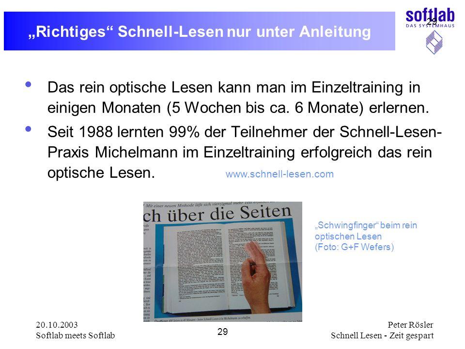 20.10.2003 Softlab meets Softlab 29 Peter Rösler Schnell Lesen - Zeit gespart 29 Richtiges Schnell-Lesen nur unter Anleitung Das rein optische Lesen k