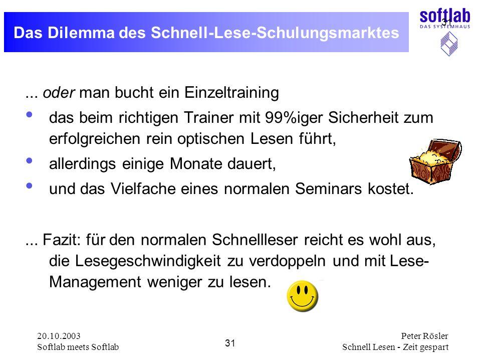 20.10.2003 Softlab meets Softlab 31 Peter Rösler Schnell Lesen - Zeit gespart 31 Das Dilemma des Schnell-Lese-Schulungsmarktes... oder man bucht ein E
