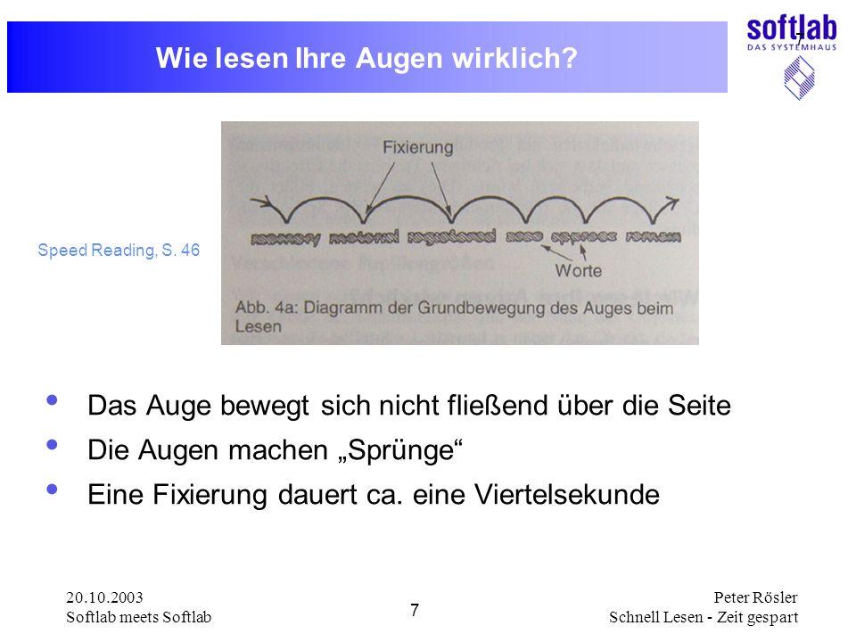 20.10.2003 Softlab meets Softlab 7 Peter Rösler Schnell Lesen - Zeit gespart 7 Wie lesen Ihre Augen wirklich? Das Auge bewegt sich nicht fließend über
