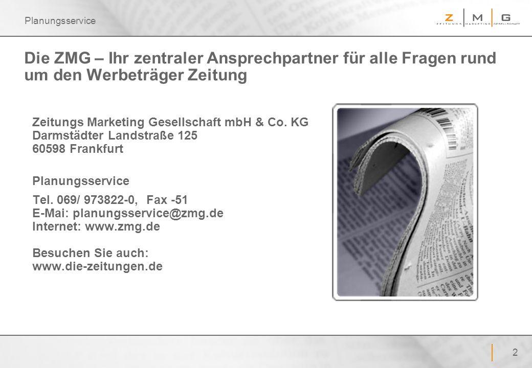 2 Planungsservice Die ZMG – Ihr zentraler Ansprechpartner für alle Fragen rund um den Werbeträger Zeitung Zeitungs Marketing Gesellschaft mbH & Co. KG