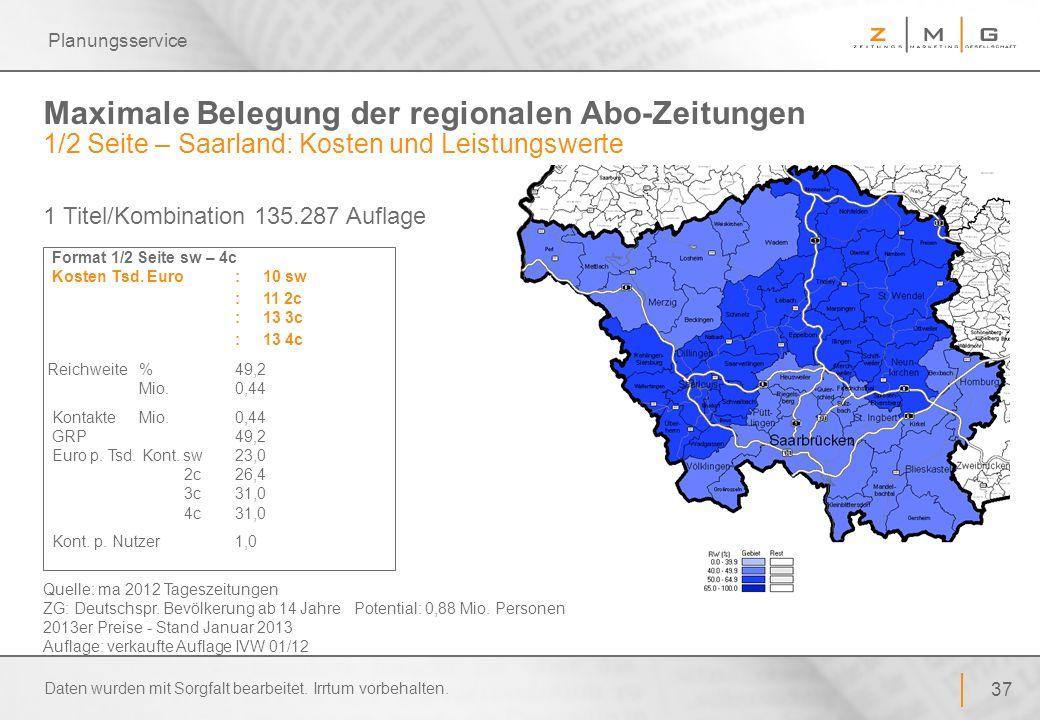 37 Planungsservice Maximale Belegung der regionalen Abo-Zeitungen 1/2 Seite – Saarland: Kosten und Leistungswerte Format 1/2 Seite sw – 4c Kosten Tsd.