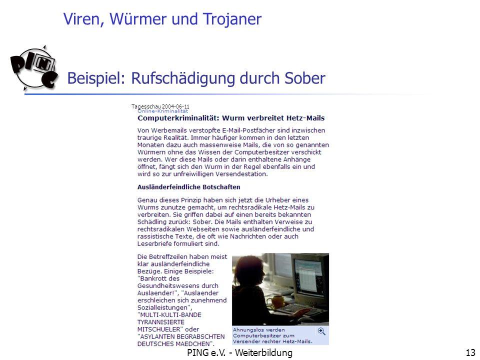 Viren, Würmer und Trojaner PING e.V. - Weiterbildung13 Beispiel: Rufschädigung durch Sober Tagesschau 2004-06-11