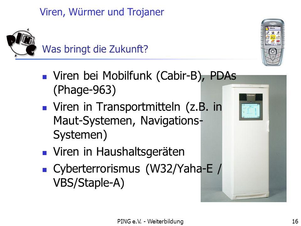 Viren, Würmer und Trojaner PING e.V. - Weiterbildung16 Was bringt die Zukunft? Viren bei Mobilfunk (Cabir-B), PDAs (Phage-963) Viren in Transportmitte