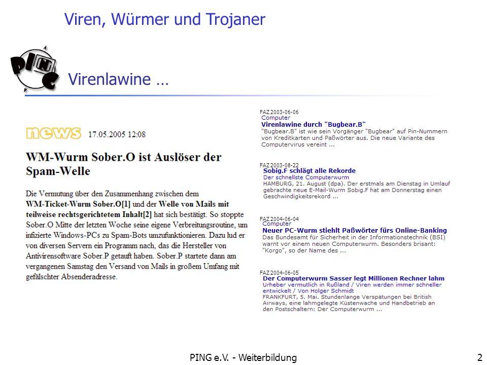 Viren, Würmer und Trojaner PING e.V.- Weiterbildung3 Übersicht Was ist ein Virus.