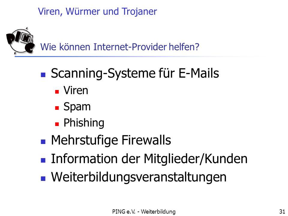 Viren, Würmer und Trojaner PING e.V. - Weiterbildung31 Wie können Internet-Provider helfen? Scanning-Systeme für E-Mails Viren Spam Phishing Mehrstufi