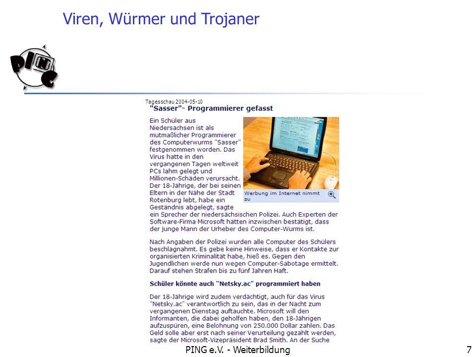 Viren, Würmer und Trojaner PING e.V.- Weiterbildung8 Wie kann sich mein Computer infizieren.