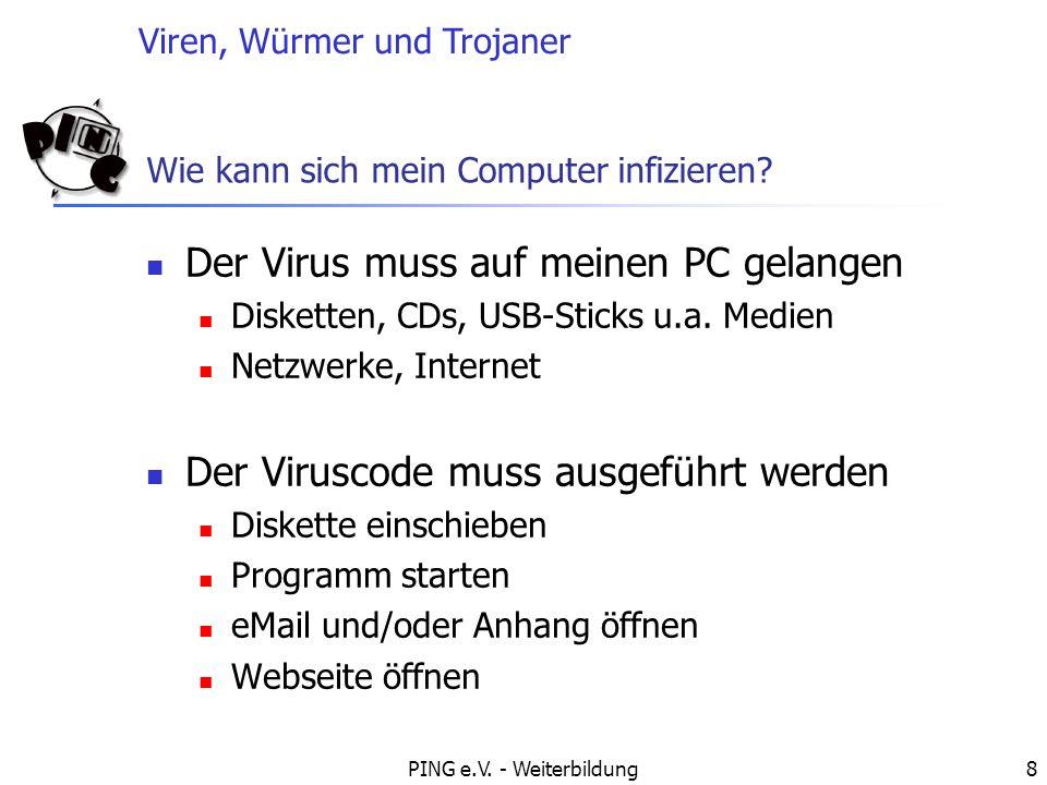Viren, Würmer und Trojaner PING e.V.- Weiterbildung9 Wie funktionieren Viren.