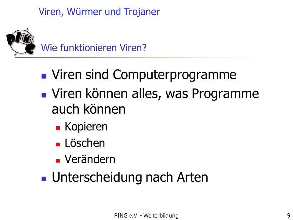 Viren, Würmer und Trojaner PING e.V.- Weiterbildung20 Wie funktioniert ein Dialer.