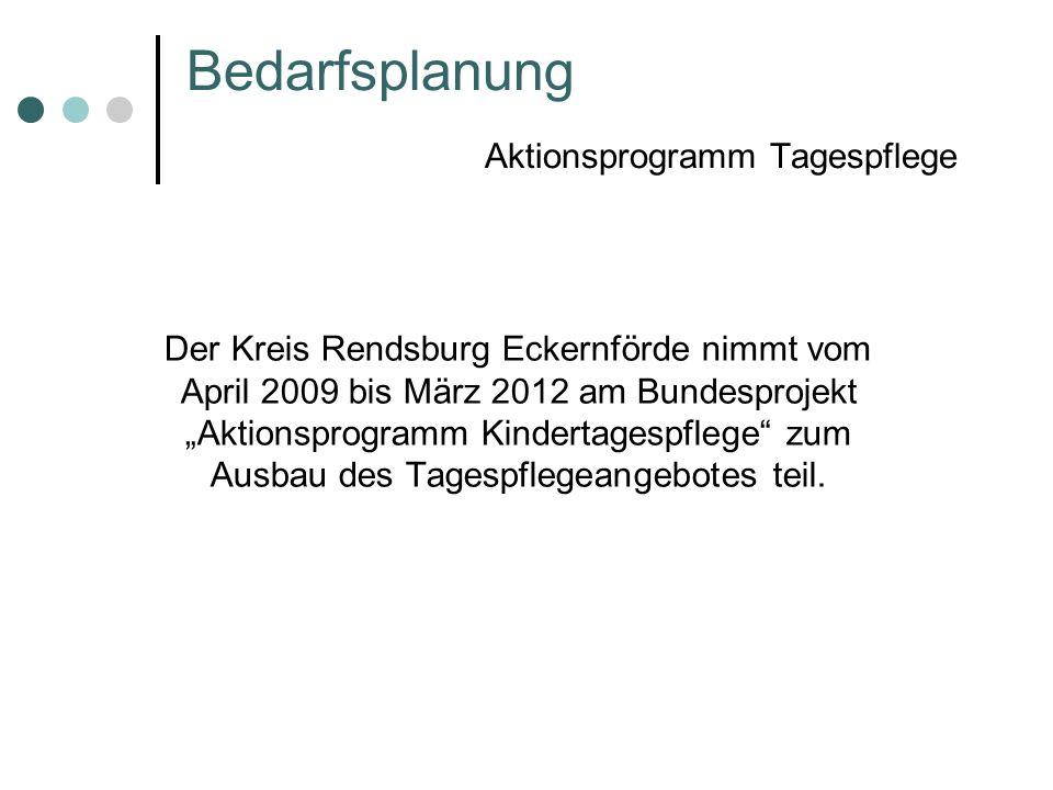 Bedarfsplanung Aktionsprogramm Tagespflege Der Kreis Rendsburg Eckernförde nimmt vom April 2009 bis März 2012 am Bundesprojekt Aktionsprogramm Kindert