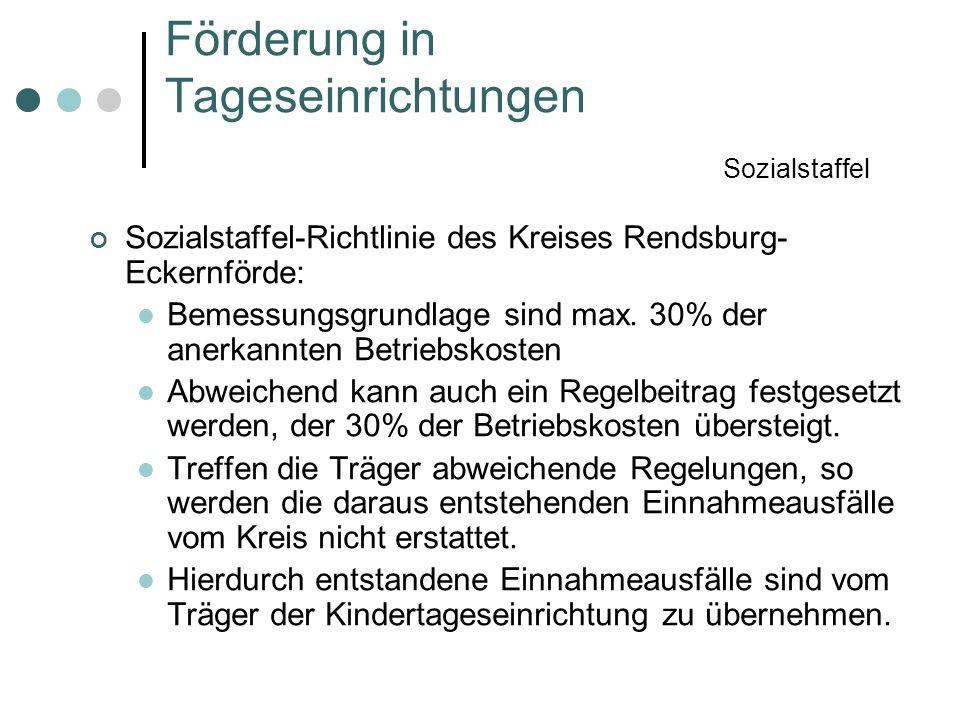 Sozialstaffel-Richtlinie des Kreises Rendsburg- Eckernförde: Bemessungsgrundlage sind max. 30% der anerkannten Betriebskosten Abweichend kann auch ein