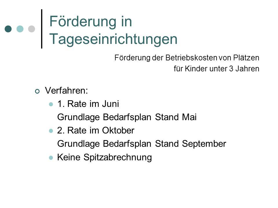Förderung in Tageseinrichtungen Verfahren: 1. Rate im Juni Grundlage Bedarfsplan Stand Mai 2. Rate im Oktober Grundlage Bedarfsplan Stand September Ke