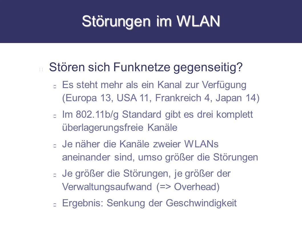 Störungen im WLAN Stören sich Funknetze gegenseitig? Es steht mehr als ein Kanal zur Verfügung (Europa 13, USA 11, Frankreich 4, Japan 14) Im 802.11b/