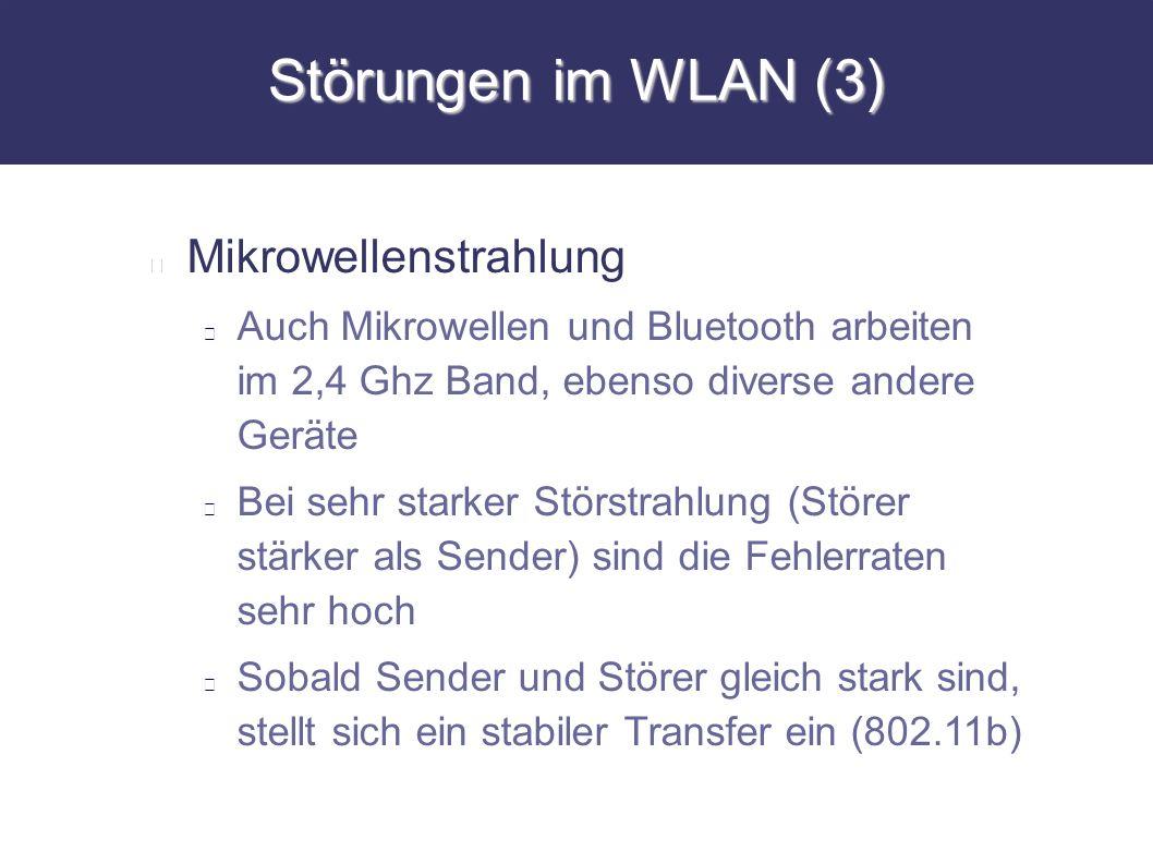 Störungen im WLAN (3) Mikrowellenstrahlung Auch Mikrowellen und Bluetooth arbeiten im 2,4 Ghz Band, ebenso diverse andere Geräte Bei sehr starker Stör