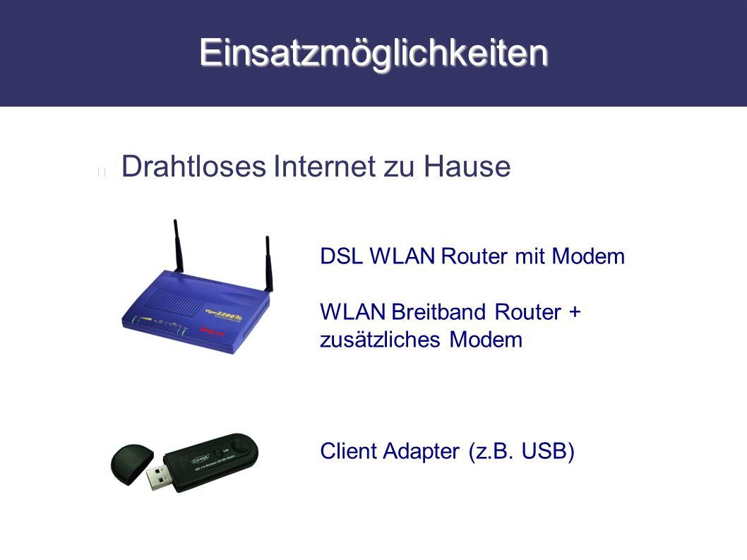 Einsatzmöglichkeiten Drahtloses Internet zu Hause DSL WLAN Router mit Modem WLAN Breitband Router + zusätzliches Modem Client Adapter (z.B. USB)