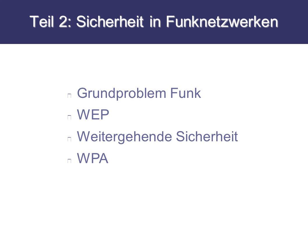 Teil 2: Sicherheit in Funknetzwerken Grundproblem Funk WEP Weitergehende Sicherheit WPA