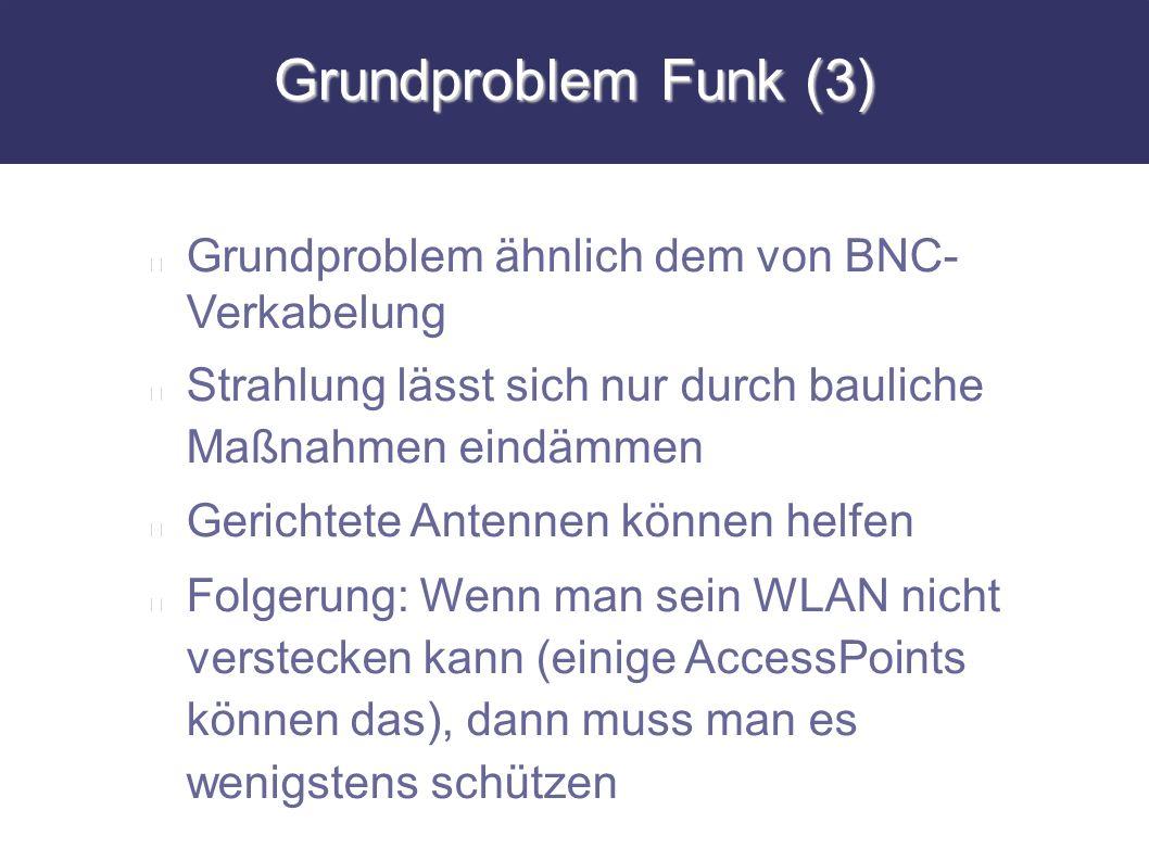 Grundproblem Funk (3) Grundproblem ähnlich dem von BNC- Verkabelung Strahlung lässt sich nur durch bauliche Maßnahmen eindämmen Gerichtete Antennen kö