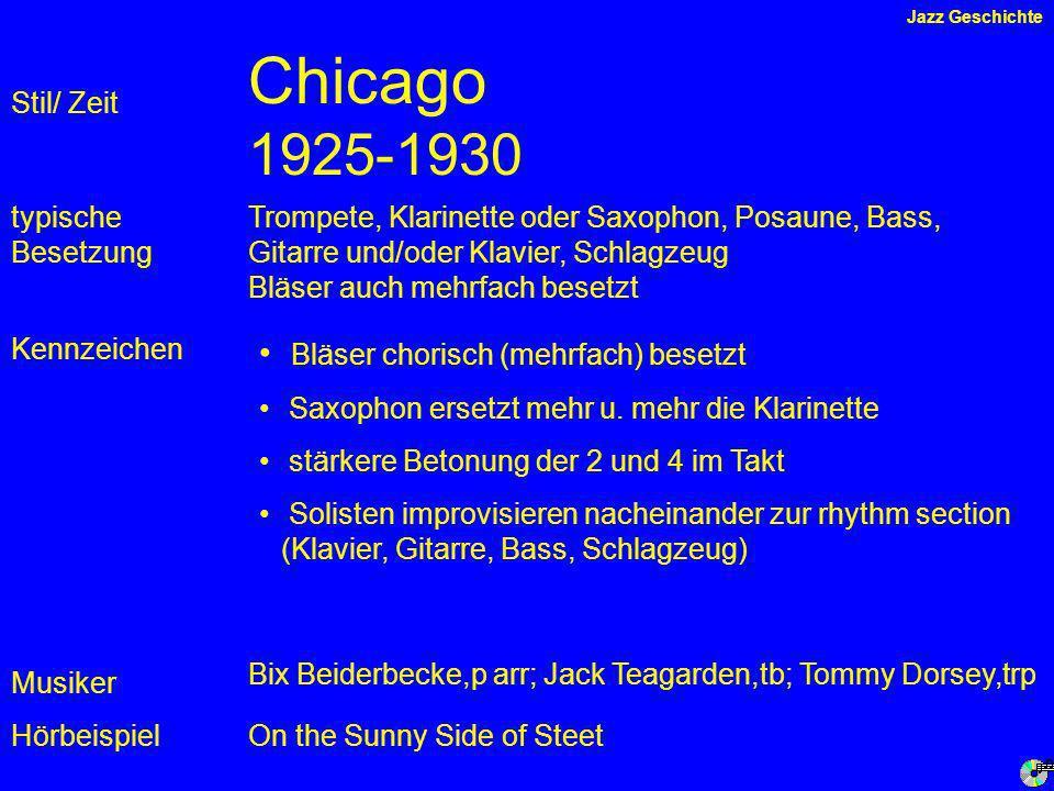 Chicago 1925-1930 Kennzeichen typische Besetzung Hörbeispiel Stil/ Zeit Trompete, Klarinette oder Saxophon, Posaune, Bass, Gitarre und/oder Klavier, Schlagzeug Bläser auch mehrfach besetzt Bläser chorisch (mehrfach) besetzt Saxophon ersetzt mehr u.