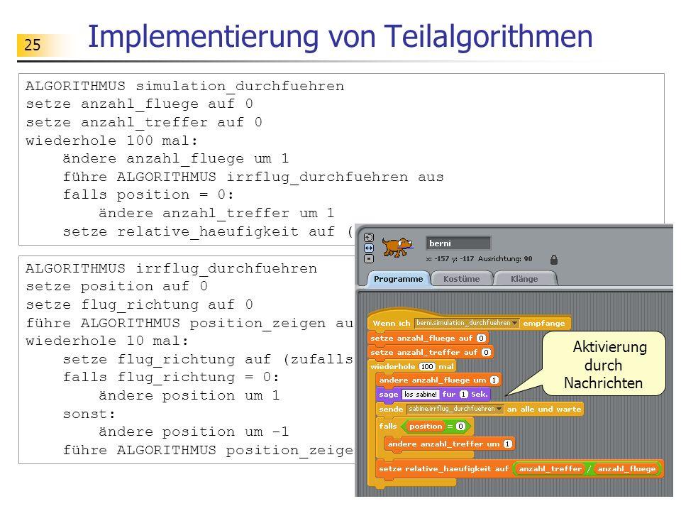25 Implementierung von Teilalgorithmen ALGORITHMUS simulation_durchfuehren setze anzahl_fluege auf 0 setze anzahl_treffer auf 0 wiederhole 100 mal: än