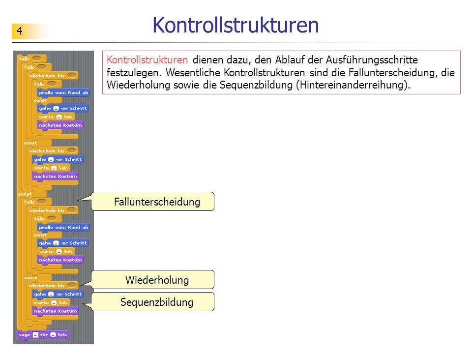 4 Kontrollstrukturen Kontrollstrukturen dienen dazu, den Ablauf der Ausführungsschritte festzulegen. Wesentliche Kontrollstrukturen sind die Fallunter