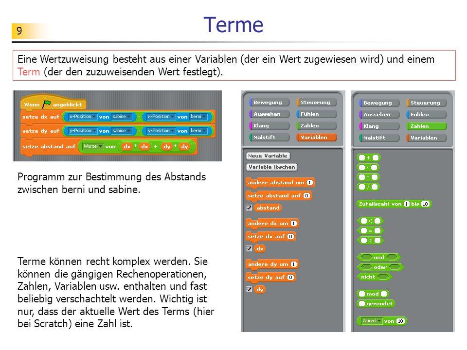 9 Terme Eine Wertzuweisung besteht aus einer Variablen (der ein Wert zugewiesen wird) und einem Term (der den zuzuweisenden Wert festlegt). Terme könn