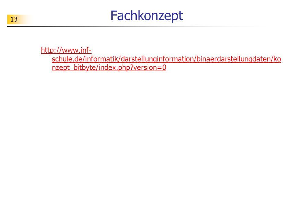 13 Fachkonzept http://www.inf- schule.de/informatik/darstellunginformation/binaerdarstellungdaten/ko nzept_bitbyte/index.php?version=0