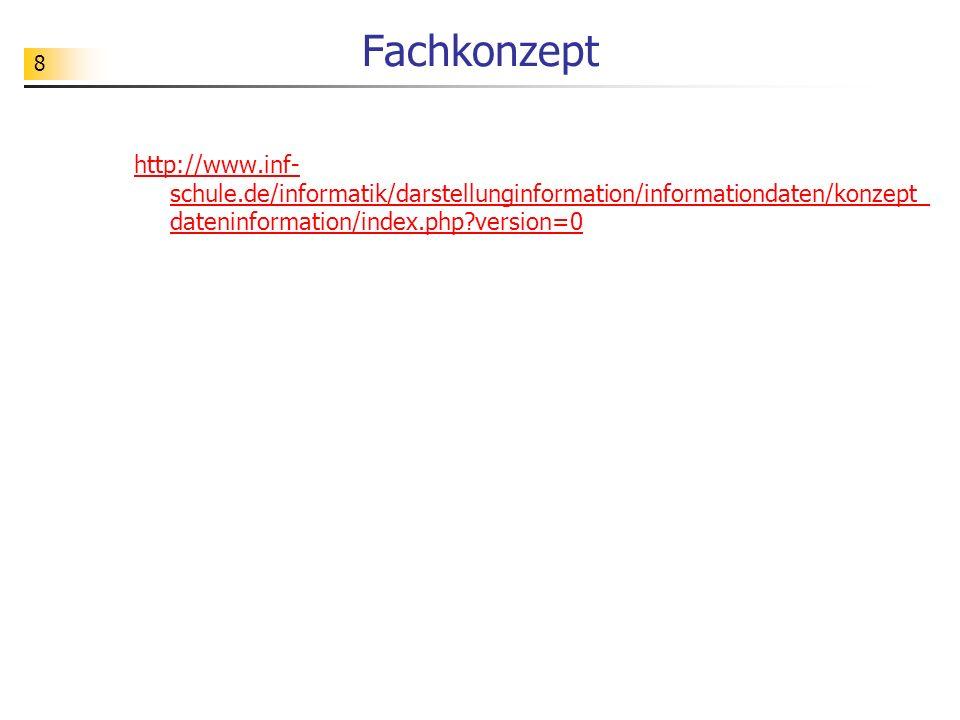 8 Fachkonzept http://www.inf- schule.de/informatik/darstellunginformation/informationdaten/konzept_ dateninformation/index.php?version=0