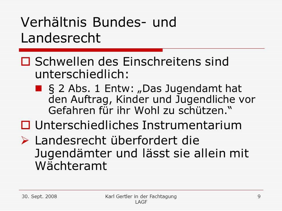 30. Sept. 2008Karl Gertler in der Fachtagung LAGF 9 Verhältnis Bundes- und Landesrecht Schwellen des Einschreitens sind unterschiedlich: § 2 Abs. 1 En