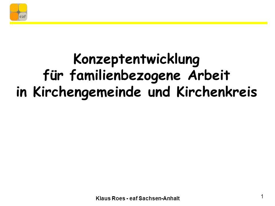 Klaus Roes - eaf Sachsen-Anhalt 1 Konzeptentwicklung für familienbezogene Arbeit in Kirchengemeinde und Kirchenkreis