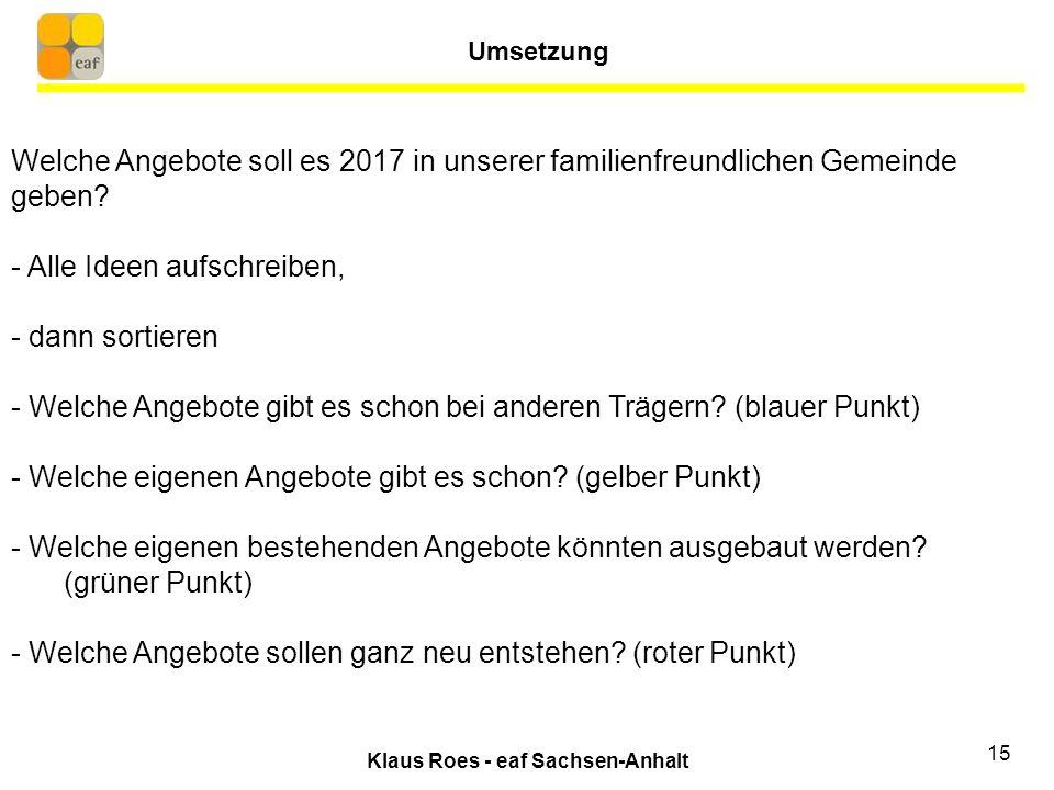 Klaus Roes - eaf Sachsen-Anhalt 15 Welche Angebote soll es 2017 in unserer familienfreundlichen Gemeinde geben.