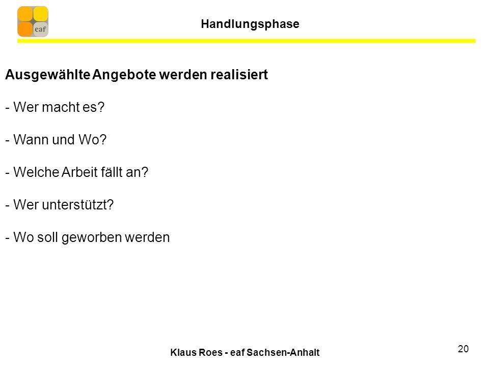 Klaus Roes - eaf Sachsen-Anhalt 20 Ausgewählte Angebote werden realisiert - Wer macht es.