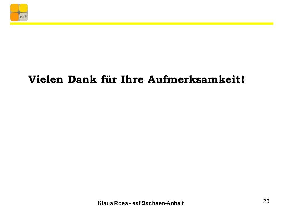 Klaus Roes - eaf Sachsen-Anhalt 23 Vielen Dank für Ihre Aufmerksamkeit!