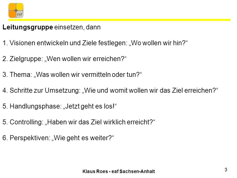 Klaus Roes - eaf Sachsen-Anhalt 3 Leitungsgruppe einsetzen, dann 1.