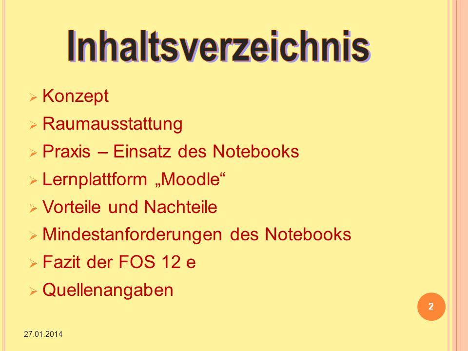 Konzept Raumausstattung Praxis – Einsatz des Notebooks Lernplattform Moodle Vorteile und Nachteile Mindestanforderungen des Notebooks Fazit der FOS 12
