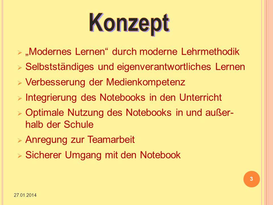 Modernes Lernen durch moderne Lehrmethodik Selbstständiges und eigenverantwortliches Lernen Verbesserung der Medienkompetenz Integrierung des Notebook