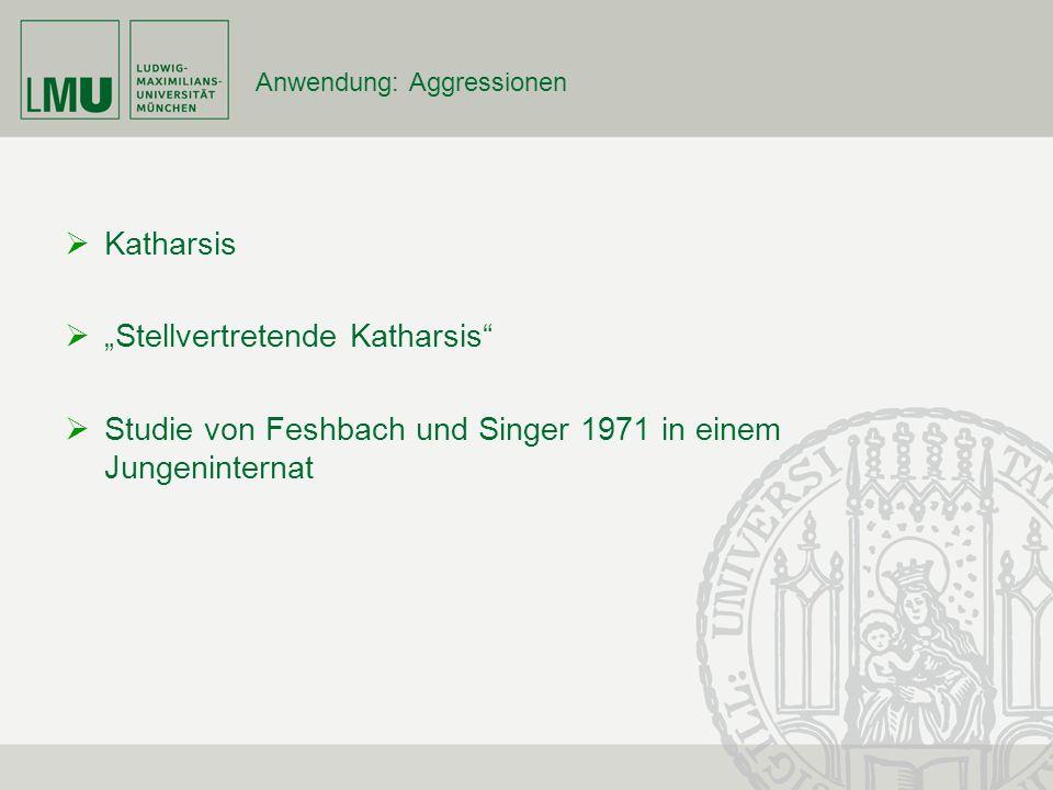 Anwendung: Aggressionen Katharsis Stellvertretende Katharsis Studie von Feshbach und Singer 1971 in einem Jungeninternat