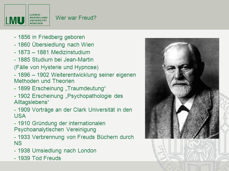 Wer war Freud? - 1856 in Friedberg geboren - 1860 Übersiedlung nach Wien - 1873 – 1881 Medizinstudium - 1885 Studium bei Jean-Martin (Fälle von Hyster