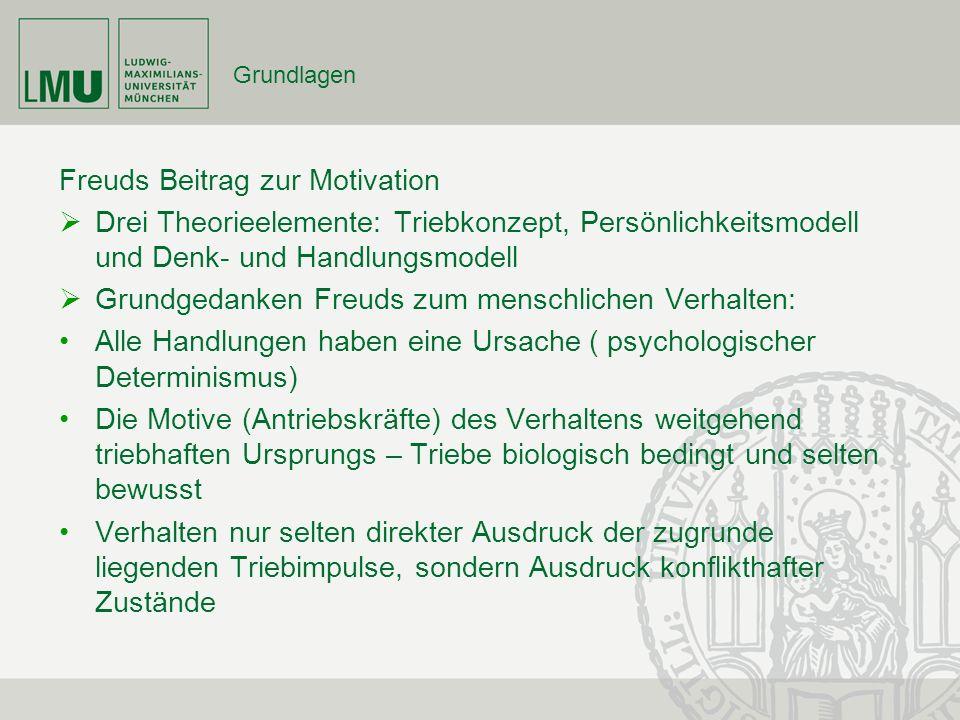 Grundlagen Freuds Beitrag zur Motivation Drei Theorieelemente: Triebkonzept, Persönlichkeitsmodell und Denk- und Handlungsmodell Grundgedanken Freuds