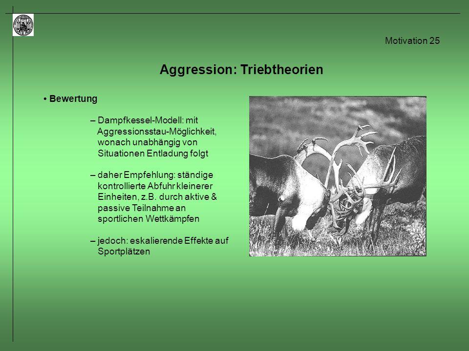 Motivation 26 Kurzzusammenfassung Freud und Lorenz sind sich einig, dass es einen Katharsis Effekt geben sollte.