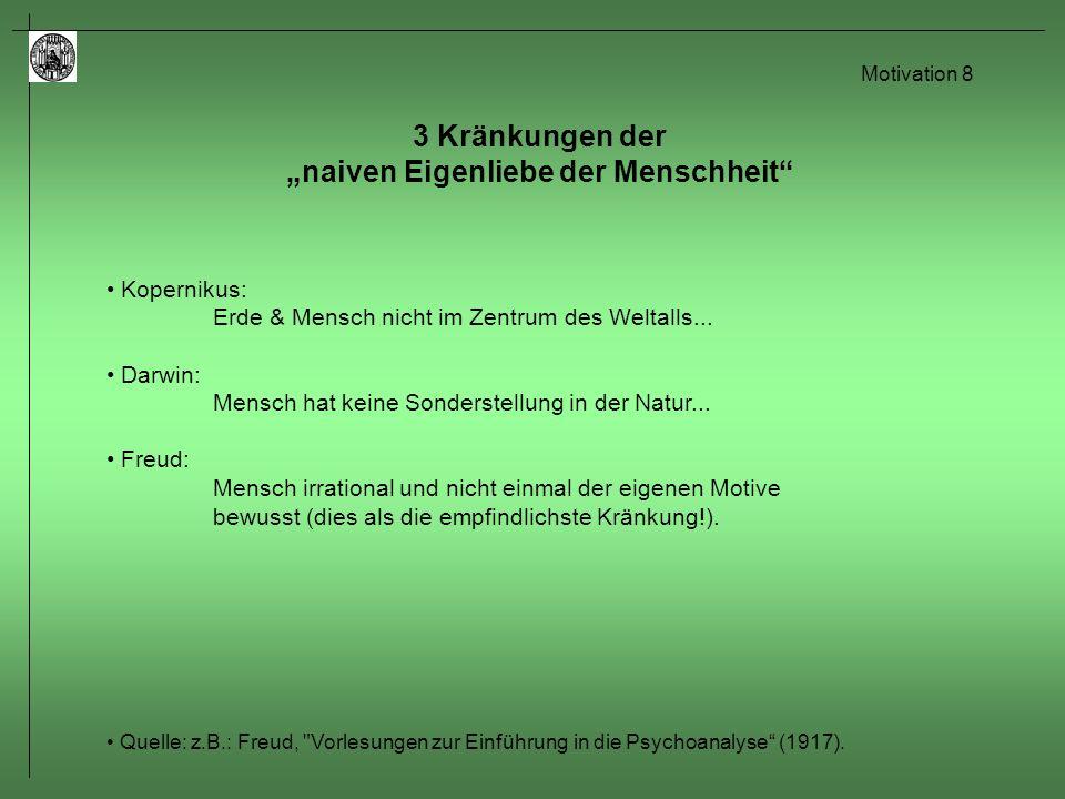 Motivation 9 Grundprinzipien Homöostase: Tendenz zur Erhaltung eines relativ stabilen inneren Milieus (Gleichgewichtszustand).