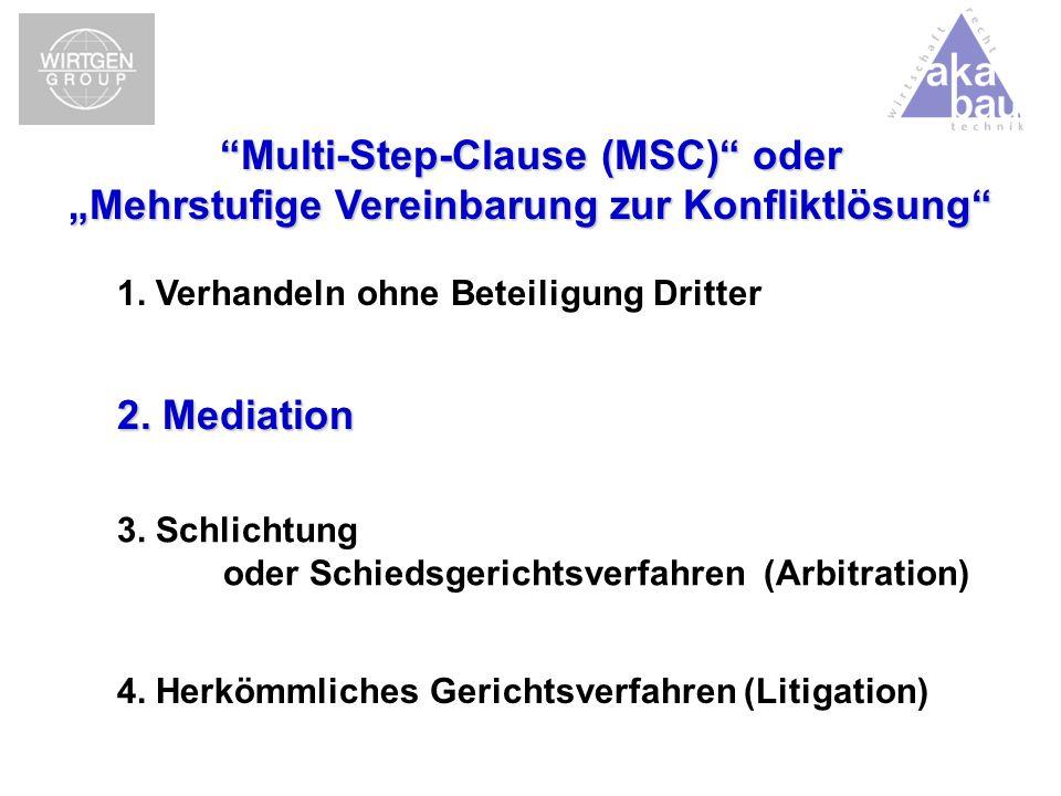 4. Herkömmliches Gerichtsverfahren (Litigation) 1. Verhandeln ohne Beteiligung Dritter 2. Mediation 3. Schlichtung oder Schiedsgerichtsverfahren (Arbi